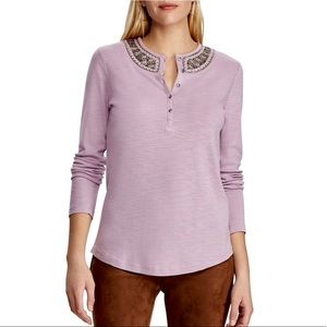 CHAPS Embellished Neckline Lilac Henley Top / M